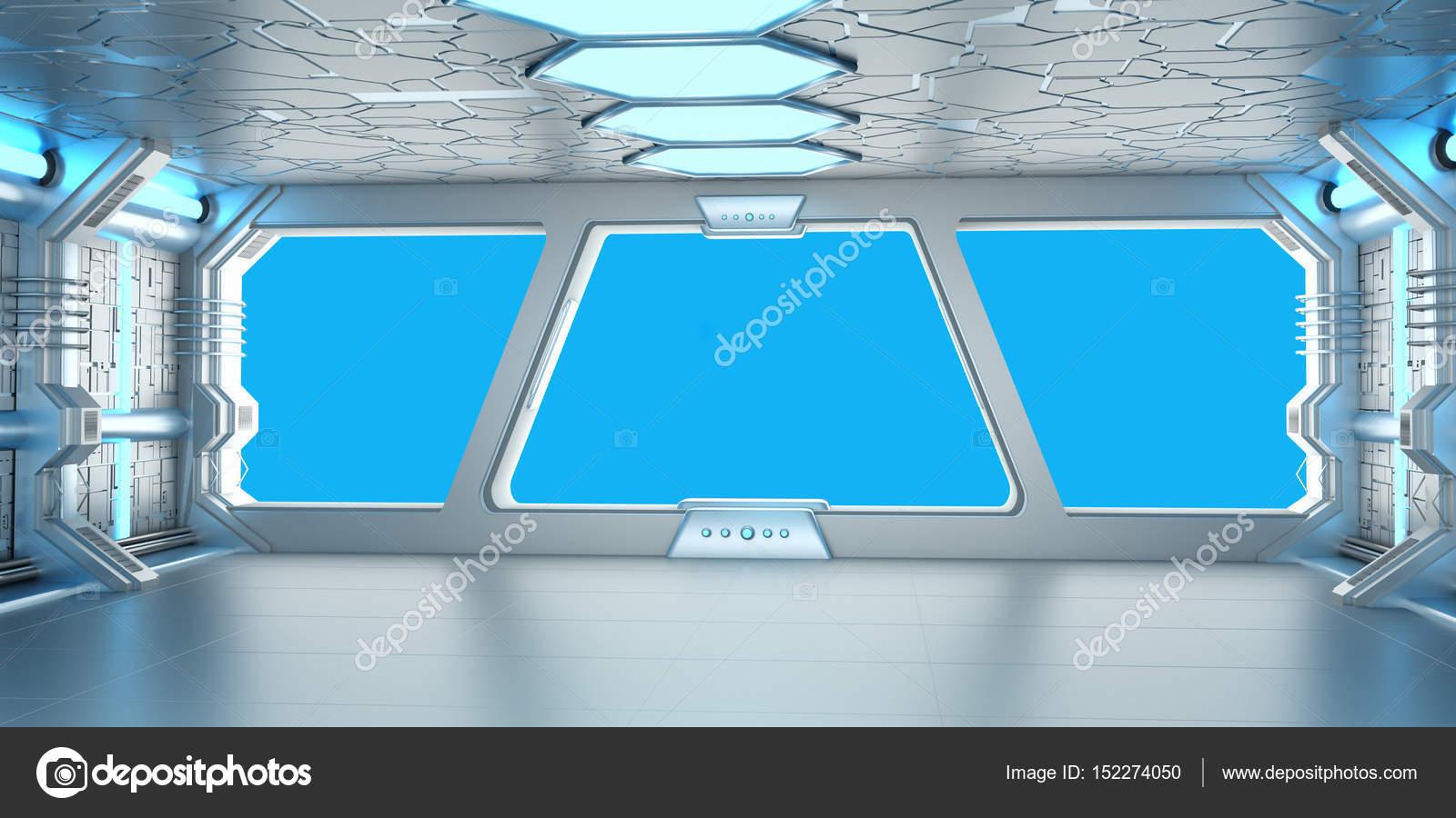 Ruimteschip blauw en wit interieur 3D-rendering — Stockfoto ...