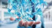 Podnikatel, drží 3d renderovací skupině lidí, modré