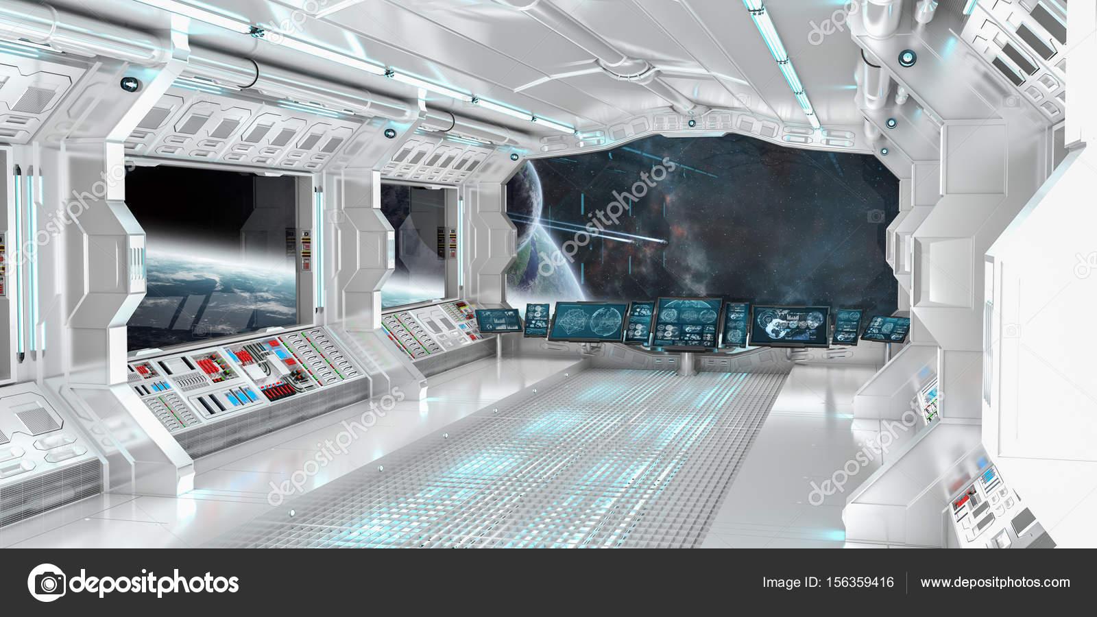 Interior de la nave espacial con vistas a planetas for Interior nave espacial