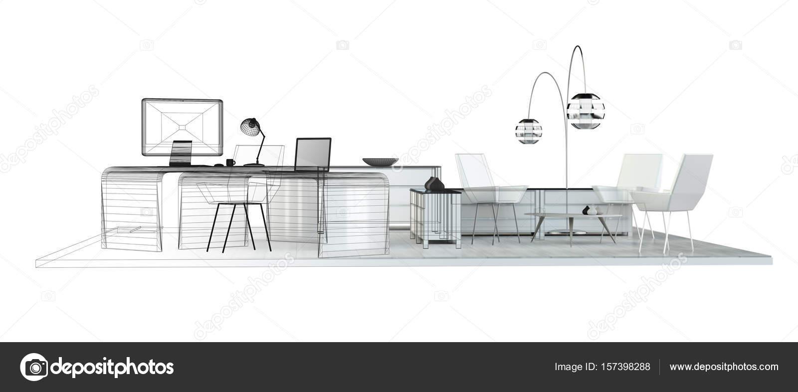 3d Rendering Office Plan Stock Photo C Sdecoret 157398288
