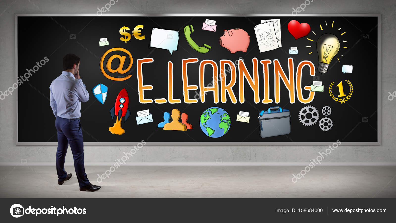 Businessman Watching E Learning Sketch On A Board 3d Rendering Stock Photo C Sdecoret 158684000