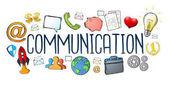 Text ručně tažené komunikace s ikonami