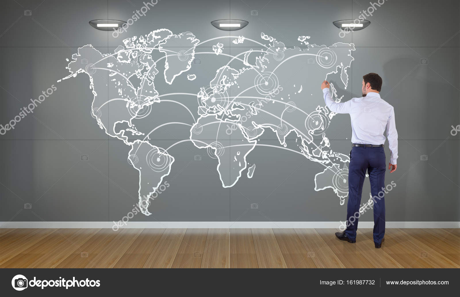 Businessman drawing manuscript world map connection on a wall 3d businessman drawing manuscript world map connection on a wall 3d stock photo gumiabroncs Choice Image