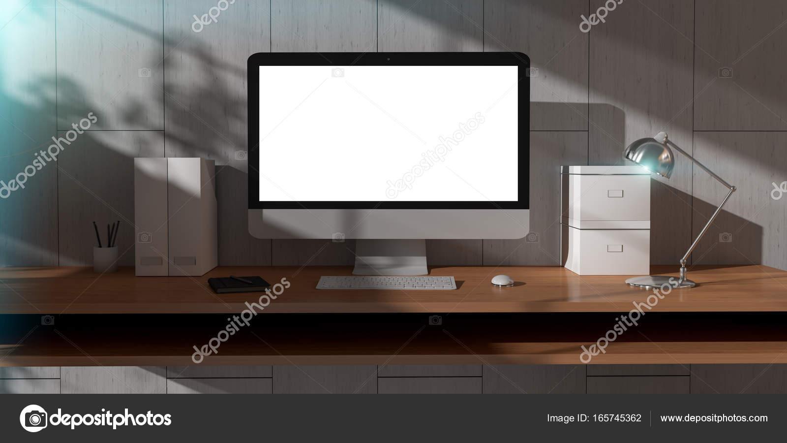 Moderne donkere bureau kantoor interieur met computer en apparaten