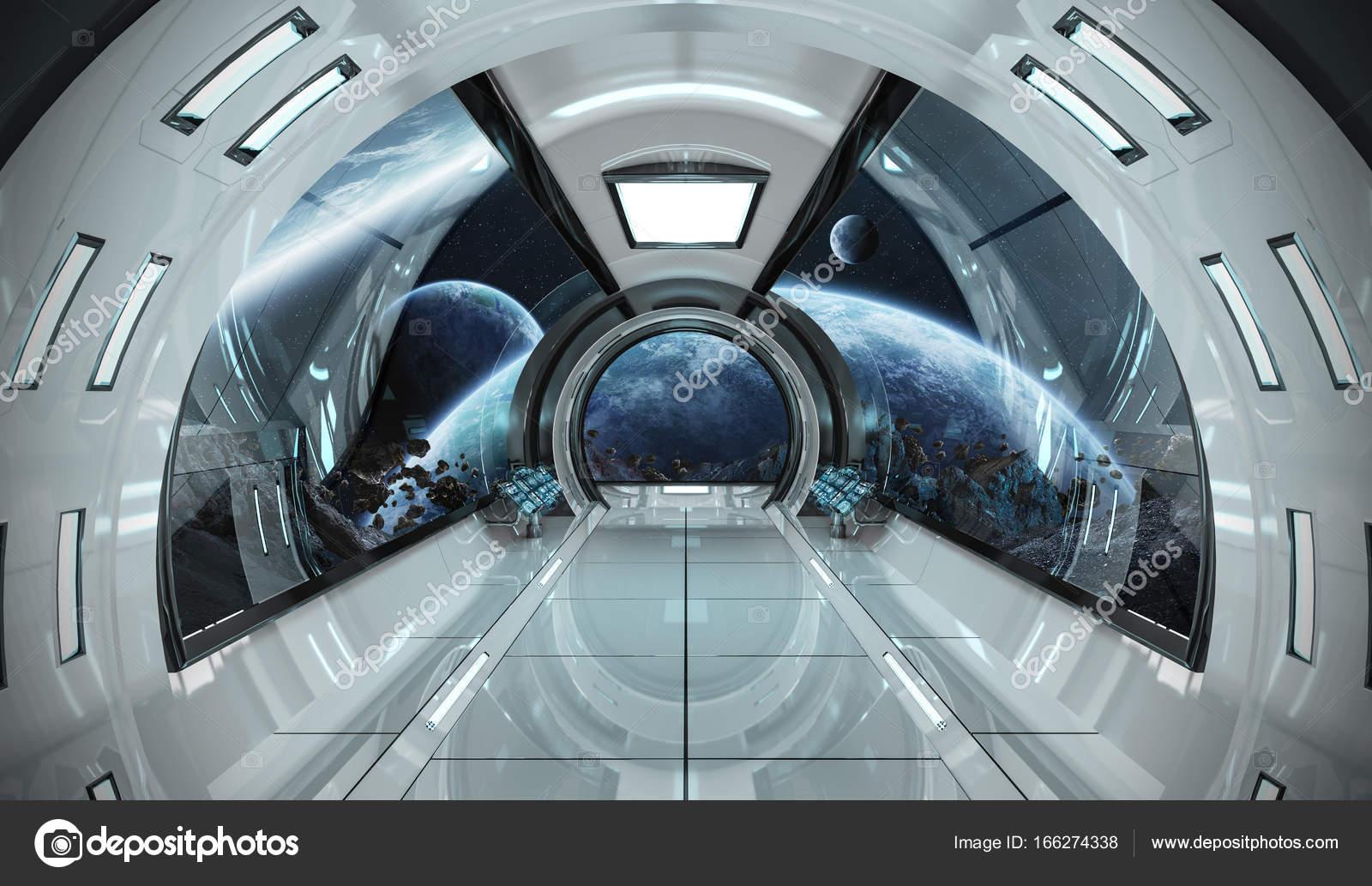 Interior De Ventana De Nave Espacial: Interior Da Nave Espacial Com Vista Sobre Elementos De