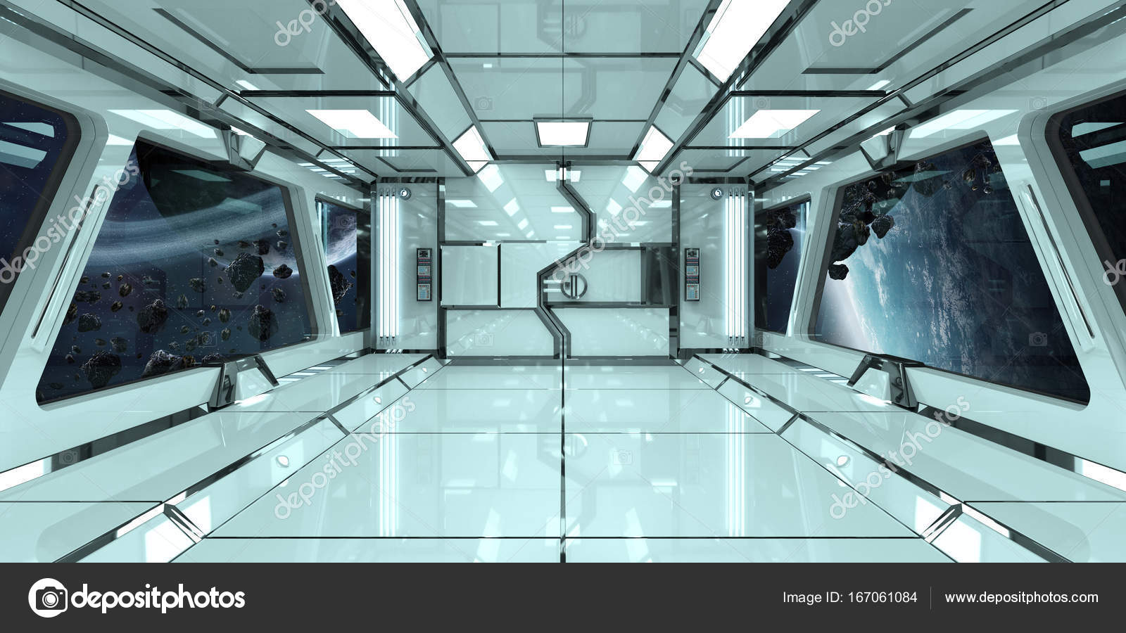 Spaceship interior with view on planets 3D rendering