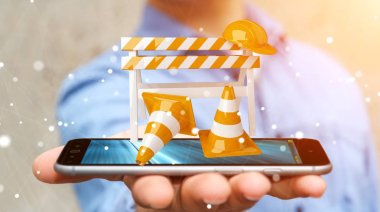 Businessman using digital 3D rendering under construction signs
