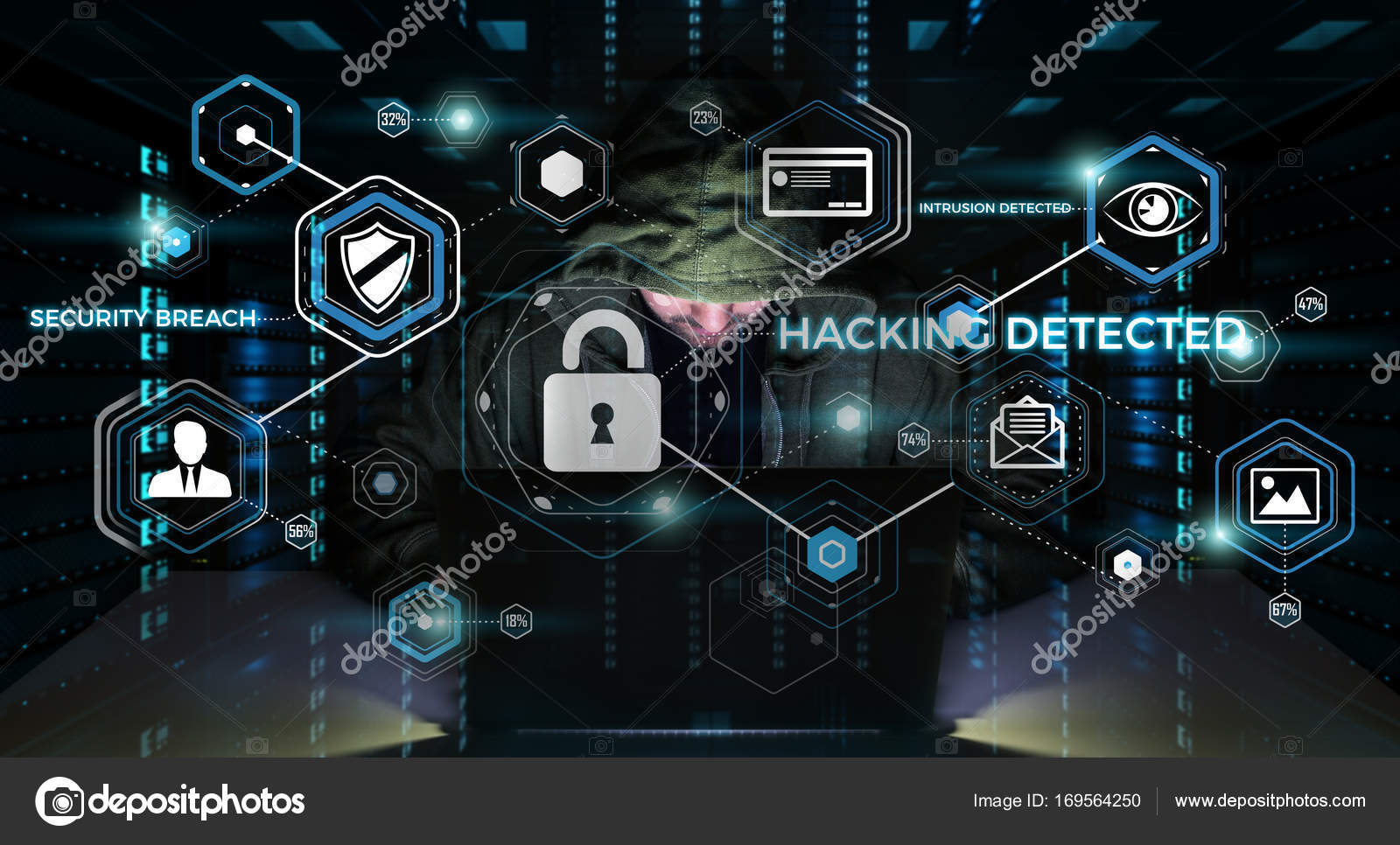 Hacker accessing to personal data information with a