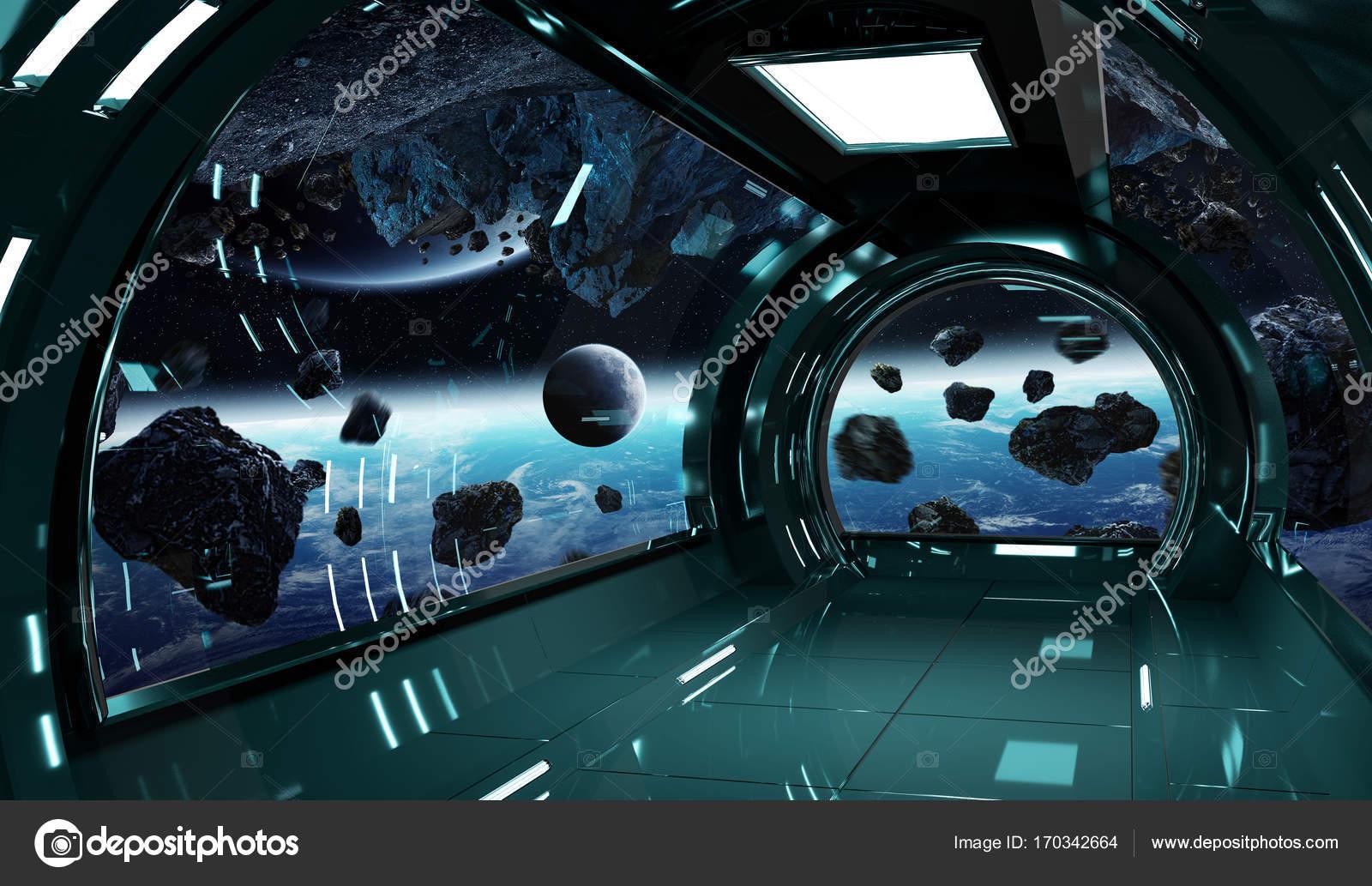Int rieur avec vue sur les l ments de rendu 3d de for Interieur vaisseau spatial