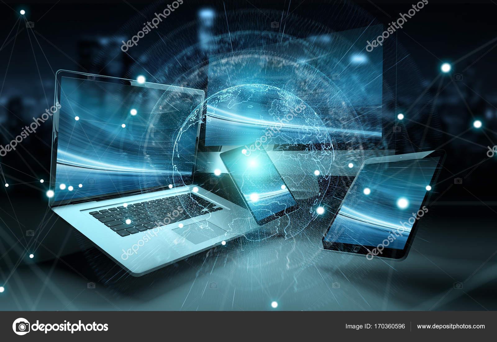 dd289badce7 Интерфейс сервера во всем мире через современные технические устройства в  темном фоне 3d рендеринга — Фото автора ...