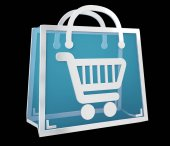 Digital shopping icons isolated 3D rendering