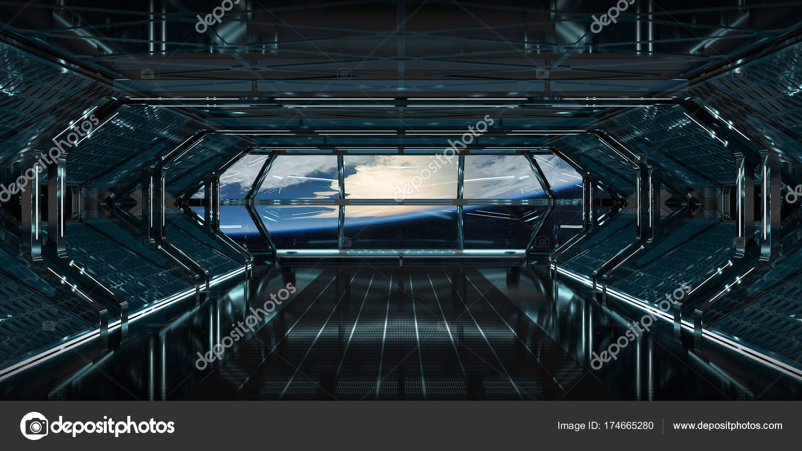 Spaceship Interior With View On Earth 3D Rendering Elements Of T U2014 Stock  Photo