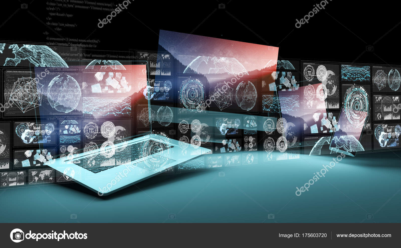 Hologram interface in front of modern devices 3D rendering — Stock