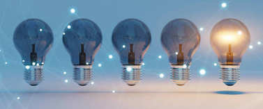 Bright lightbulbs and connections lined up 3D rendering