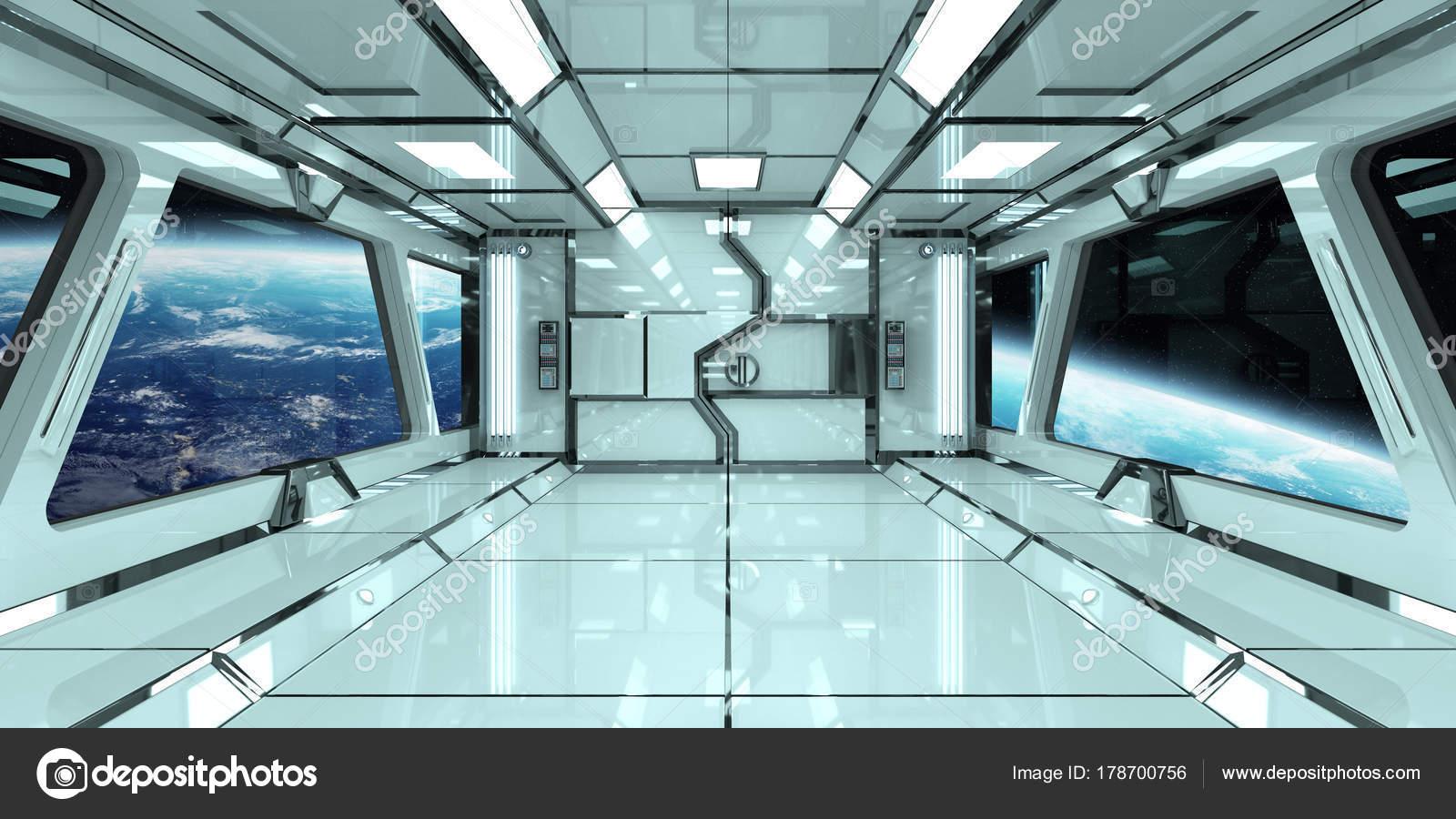 Interior De Ventana De Nave Espacial: Interior Da Nave Espacial Com Vista Na Terra 3d Elementos