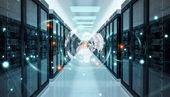 Fotografie Erde-Netzwerk fliegt über Serverraum Rechenzentrum 3D-Rendering