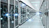 Photo Server room center exchanging cyber datas 3D rendering