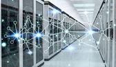 Fotografie Server Room Center Austausch von Cyber-Daten 3D-Rendering