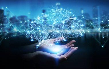 Businesswoman using digital x-ray human brain interface 3D rende