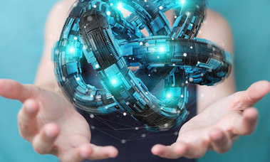 Businesswoman using futuristic torus textured object 3D renderin