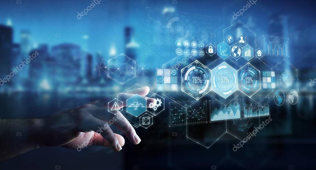 Businessman using holograms datas on digital screens 3D renderin