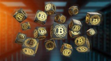 Bitcoins exchanges background 3D rendering