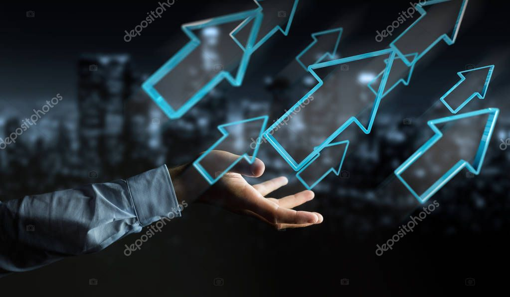 Businessman using digital modern arrow 3D rendering