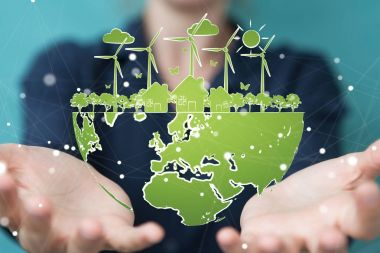 Businesswoman touching and holding renewable energy sketch
