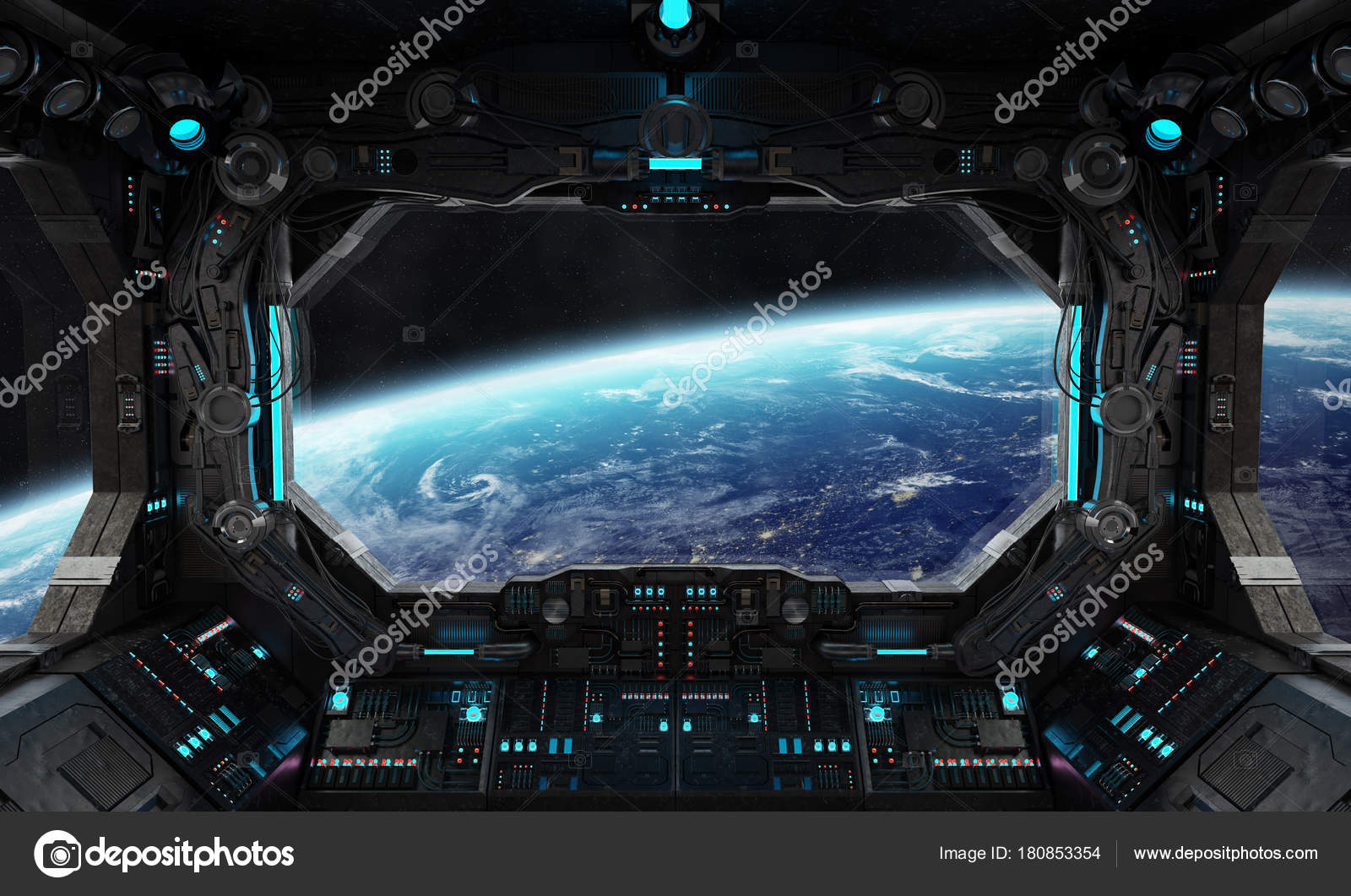 spaceship grunge interior with view on planet earth stock photo