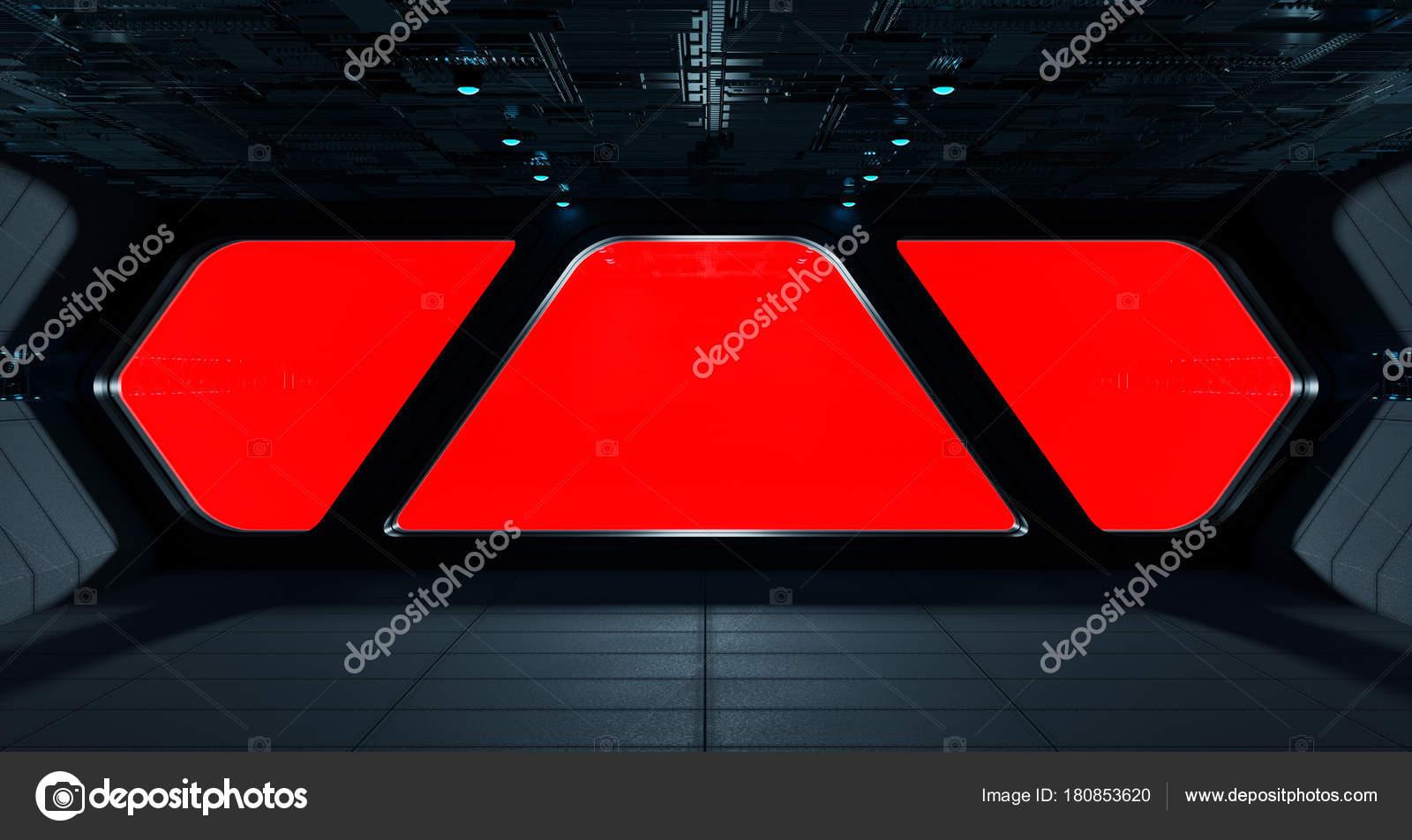 Interior De Ventana De Nave Espacial: Interior Futurista Nave Espacial Con La Ventana