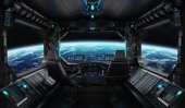 Fotografie Spaceship grunge interior with view on planet Earth