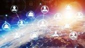 digitales soziales Netzwerk auf dem Planeten Erde 3D-Rendering