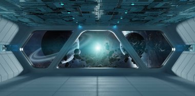 Spaceship futuristic grey blue interior with view on exoplanet