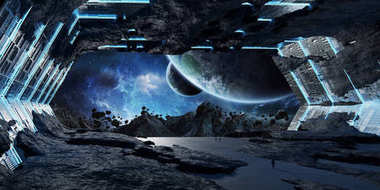 Huge asteroid spaceship interior 3D rendering elements of this i