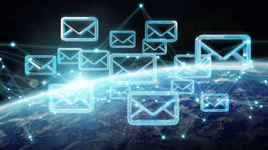 Emails exchanges on planet Earth 3D rendering