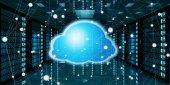 Server-Raum Rechenzentrum mit Wolke blaues Symbol 3D-Rendering