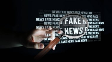 Businesswoman discovering fake news information 3D rendering