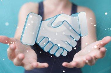 Businesswoman concluding a partnership 3D rendering