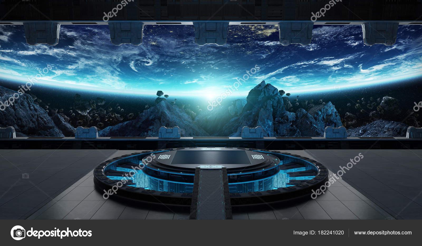 Interior De Ventana De Nave Espacial: Elementos De Representación De Nave Espacial 3d Interior