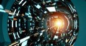 Fotografie Tmavě futuristické lodi koridoru 3d vykreslování