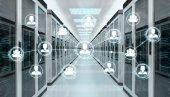 Fotografie Soziales Netzwerk über Zimmer Serverdaten Zentrum 3D-Rendering