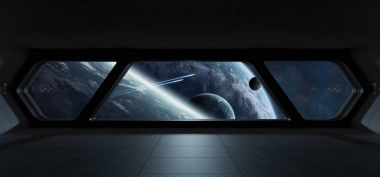 Spaceship futuristic interior with view on exoplanet