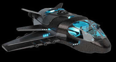 Futuristic spacecraft isolated on black background 3D rendering