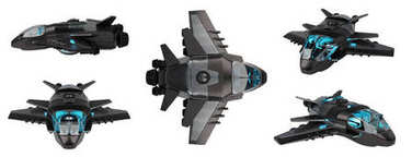 Futuristic spacecraft collection isolated on white background 3D