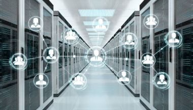 Social network over server room data center 3D rendering