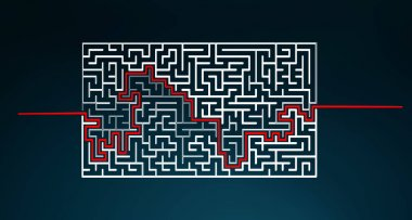 Hand-drawn maze with solution sketch
