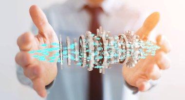 Businessman using floating modern gear mechanism 3D rendering