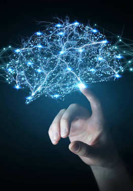 Businessman using digital x-ray human brain interface 3D renderi