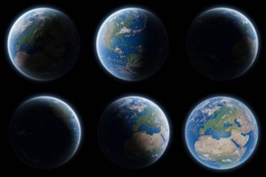 View of blue planet Earth in space collection 3D rendering eleme
