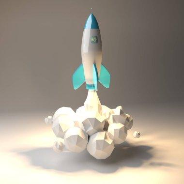 Modern digital rocket launching 3D rendering